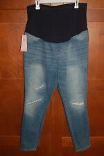 MATERNITY Jeans Denim Blue Size XL Women OVER THE BELLY JEGGINGS Liz Lange NWT