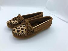 Minnetonka Kilty Suede Moccasin (2093) Tan/Leopard Size 5
