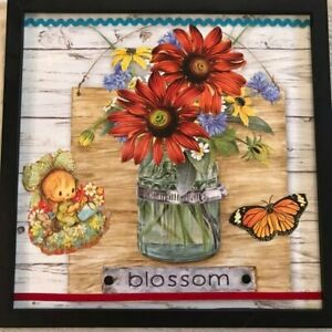 Blossom Floral Jar, Handmade OOAK Collage Framed Picture, Retro Fall Autumn