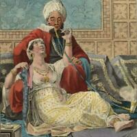 Moroccan Morocco Africa hookah pipe 1836 beautiful ethnic costume print