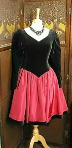 1980's original vintage Laura Ashley evening prom dress velvet taffeta size 12 ?