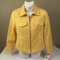 Ruby Road Womens Jacket Size 4 Petite Yellow Pockets Zipper Snaps New