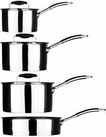 Tenzo Kitchen Cooking Suacepan / Frypan Set Stainless Steel / Black Grip Handles