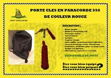 Porte clés en paracorde 550 rouge tressage cobra resistant, lavable etc.