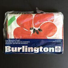 Vintage Burlington Twin Flat Sheet Giant Poppy Red Green Floral Flower Print