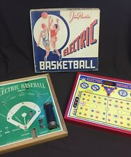 LOT of 2 Vtg Jim Prentice Electric Baseball & Basketball Game 54-X E120  mancave