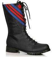 Ellie 158-AVIATOR Men's Black Combat Pilot Military Patriotic Costume Calf Boot