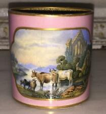 Lovely Antique Pink Prattware 'Cattle & Ruins' Coffee Can C 1840+