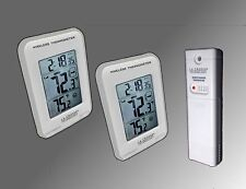 Silver Trim Dual Display Wireless Indoor/Outdoor Thermometer Min/Max & Trend NEW