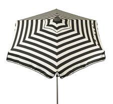 Italian 6.5 ft Cabana Stripes Classic Black and White Patio Umbrella with Tilt