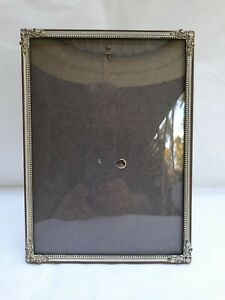 Vintage Metal Frame with Convex Glass and Leather Backing 18cms x 13 cms