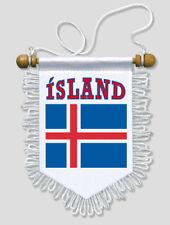 FANION DRAPEAU ISLANDE - 13 X 15 CM - VOITURE ET MUR