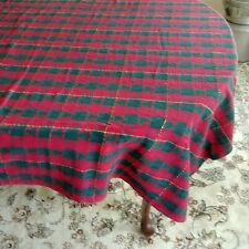 """Holiday Tablecloth & Napkins Red Green Plaid 54"""" x 72"""" Thinning Craft Fabric"""