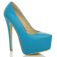 Womens ladies high heel concealed platform pointed classic court shoes pump size