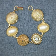 Gold Pearl and Crystal Bracelet Handmade UpCycled from Earrings One of A Kind