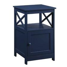 Convenience Concepts Oxford End Table with Cabinet in Cobalt Blue Wood Finish