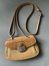 Brighton crossbody small leather bag/purse Organizer Light Brown Beautiful