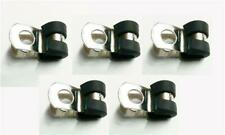 5x Marine Grade Stainless Steel Rubber-Lined P-Clip 5mm Hose Pipe Clamp M6 Hole