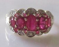 Secondhand 9ct Yellow Gold Triple Multi Ruby & Multi Diamond Cluster Ring Size N