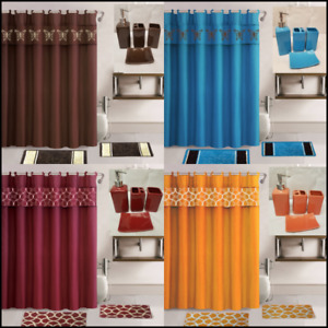 19PC COMPLETE BATHROOM BATH MATS SHOWER CURTAIN WITH CERAMIC ACCESSORIES SET