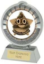 MUST TRY HARDER TROPHY POO TURD  WORK STAR AWARD FREE ENGRAVING A1900