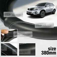 Carbon Steering Wheel Cover Glossy Urethane 380mm for KIA 2013 - 2014 Sorento R