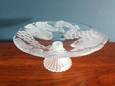 Beautiful Vintage style etched glass fruit bowl stand VGC