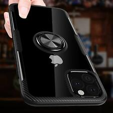 iPhone 11 Pro Case Carbon Fiber Rotation Kickstand Magnetic Clear Crystal Black
