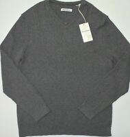 NWOT Mens XL Tommy Bahama Cotton Grey Sweater 35 Sleeve Thermal Knit