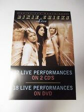 DIXIE CHICKS LIVE Poster 2003 Sony Music Promotional  Poster 2 Sided 12 X 18 NEW