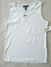 Karen Scott White Sleeveless Top with brass accent Size M.. NWT