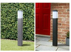 79cm Solar Powered Rattan Effect Post Light Path/Walkway Outdoor Lamp LED Light