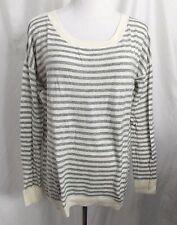 Gap Sweater Striped Hi Lo Hem Ivory Off White Gray Long Sleeve size Small