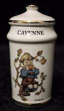 "Vintage 1987 Mj Hummel Danbury Mint Gold Trim Porcelain Cayenne Spice Jar 4"""