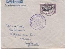 Ceylan 1935 air mail cover indo-ceylon vol spécial pour xamas à Colombo