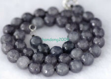 Gemstone Round Necklace 18''Aaa 10mm Faceted grey Tourmaline