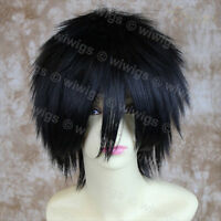 Wiwigs Striking Jet Black Short Spiky Style Cosplay Unisex Wig