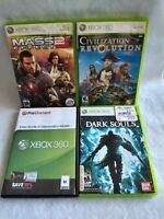 Xbox 360 Game Lot - Mass Effect 2, Dark Souls, Civilization Revolution, Oblivion