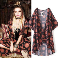 Women Sun Moon Print Chiffon Loose Shawl Kimono Cardigan Cover Up Blouse UK