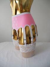 xsml ROSA Lycra Blanco Encaje 10 Correa Diseñador Burlesque LIGUERO 61-66cm