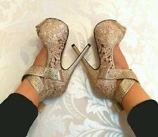 Plateau high heels pumps gold glitzer Blumen Spitze Riemen 35