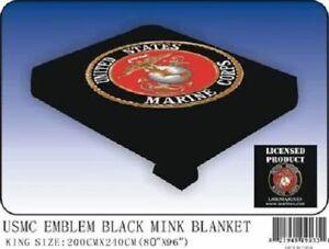 "Black USMC Marines Marine Corps Flag King/Queen Mink Throw Blanket (80"" x 96"")"