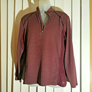 Champion DuoDry, Semi-Fitted, Long Sleeve, 1/4 Zip, Shirt,, Size Large, Soft Red
