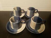 Vintage Stoneware Japan Style Setter Speckled Blue White 4 Teacups & Saucers New