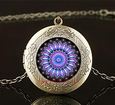 Vintage Mandala Photo Cabochon Glass Brass Chain Locket Pendant Necklace#Q3