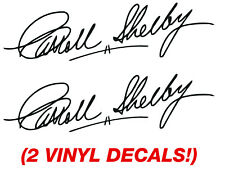 """2 STICKERS 9"""" Carroll Shelby Autograph Signature Vinyl Decal Shelby GT350  car"""