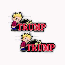 """Anti Trump Calvin Peeing Decals Impeach Trump 2 pack of bumper stickers 5"""" wide"""