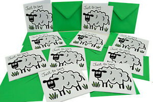 Pack of 10 Sheep THANK YOU Cards.  Meadow Green envelopes