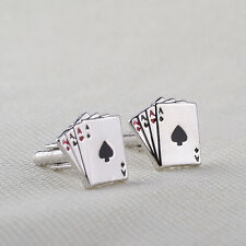 Stainless Steel Cufflinks Silver Ace Spades 4 Aces Playing Deck Cards Poker Men