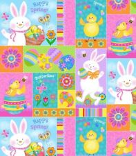 Spring Has Sprung Fabric - Easter Bunny Chick Egg Pastel Patch - Studio E YARD